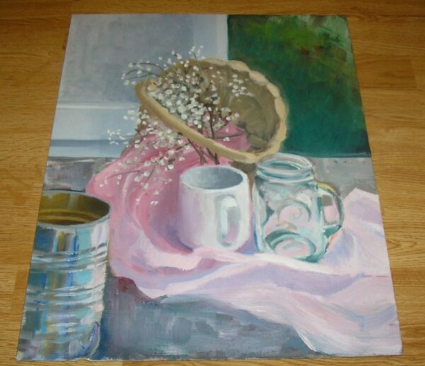 VINTAGE WHITE FLOWER BLOSSOMS PINK BLUE WHITE GROCERY CAN STILL LIFE PAINTING