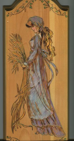 ART NOUVEAU WHEAT GLEANER HARVEST VICTORIAN GIRL GARDEN PYROGRAPHY WOOD PAINTING