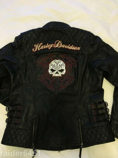 Harley Davidson Womens SCROLL Willie G SKULL Leather Jacket XL 98104-16VPVW GUC