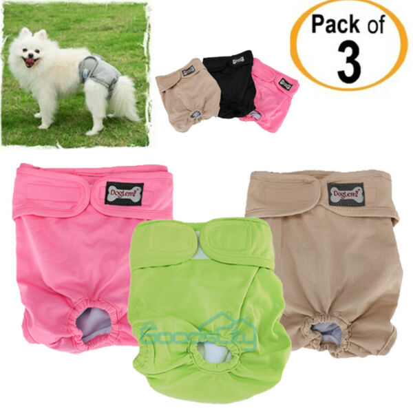 Reusable Washable Dog Diapers 3 Pack Dog Wraps for both Male and Female Dogs $16.67