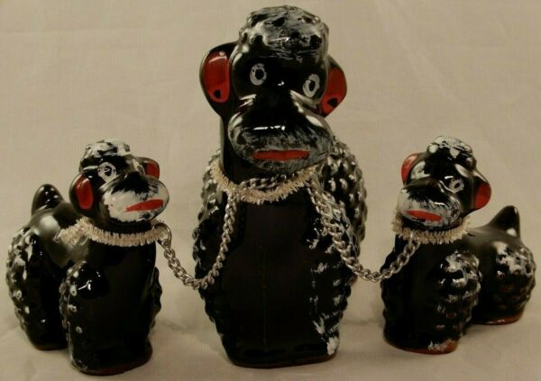 Vintage Black Mother Poodle Dog amp; Two Puppies Redware Figurines Japan $13.99