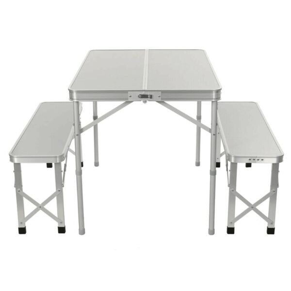 Aluminum Folding Camping Picnic Table With 2 Bench Chair Seats Portable Set