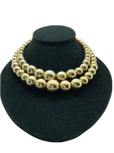 Vintage Signed Marvella Double Stand Gold Tone Graduated Bead Choker Necklace $30.00