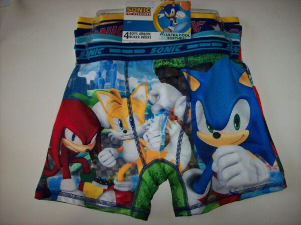 Sonic the Hedgehog Underwear Underpants Boys 4 Athletic Boxer Briefs 6 8 10 New