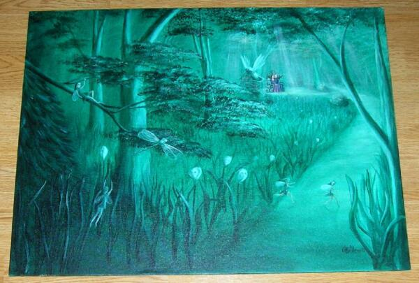 FOREST FAIRIES CALLA LILY DRAGONFLIES BOTANICAL TOPIARY EMERALD GREEN PAINTING
