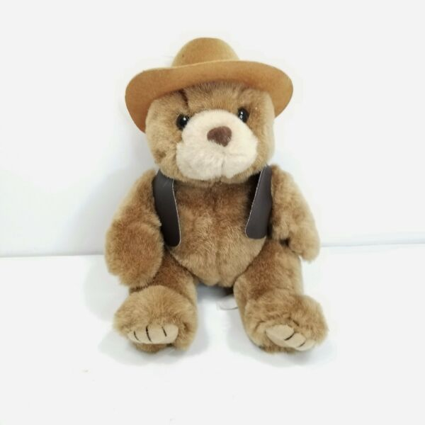 Teddy Bear Brown Plush Cowboy Hat Vest Stuffed Animal Texas Tan 8