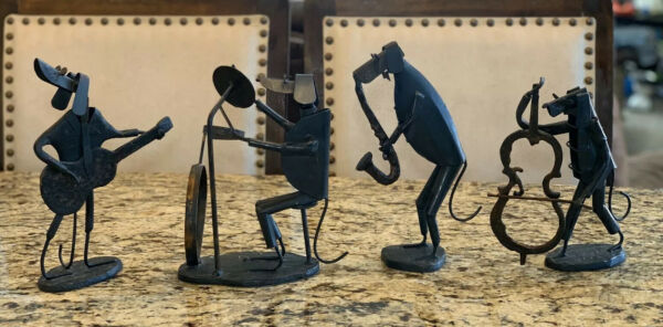 Metal Dogs Playing Instruments Orchestra Metal Sculpture Statue Figurines $350.00