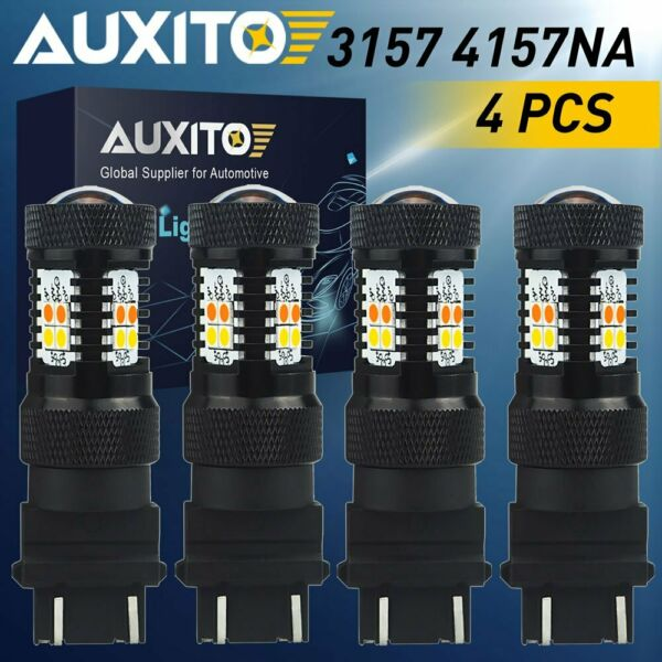 4X 3157 4157 LED Switchback Turn Signal Amber White Light Bulb Dual Color Canbus