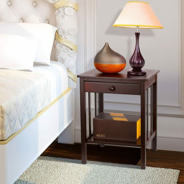Bamboo Night Stand 2 Layer 1 Drawer Bedside End Table Organizer Wood Dark Brown