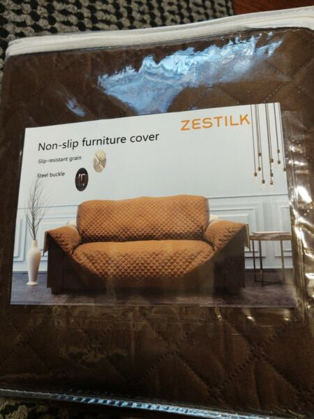 Non Slip Slipcover 67quot; Sofa Couch Cover Pet Dog Cat Kid Protector Brown NEW $15.99