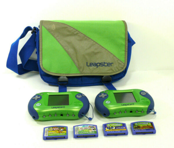 Leap Frog Leapster 2 game lot: 2 green consoles tote messenhger  $45.55
