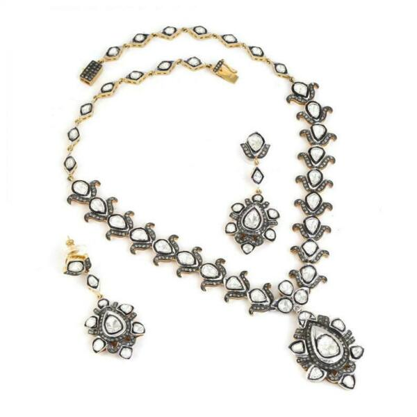 Victorian 925 Sterling Silver Polki Pave Diamond Necklace With Earring 18