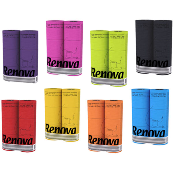 Renova Luxury Scented Colored Toilet Paper 6 Rolls 3 Ply 140 Sheets Bath Tissue