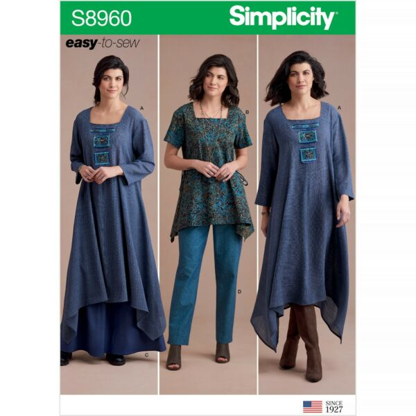 Simplicity 8960 Paper Pattern EASY-to-Sew Tunic Pant Skirt Dress Misses 6-22