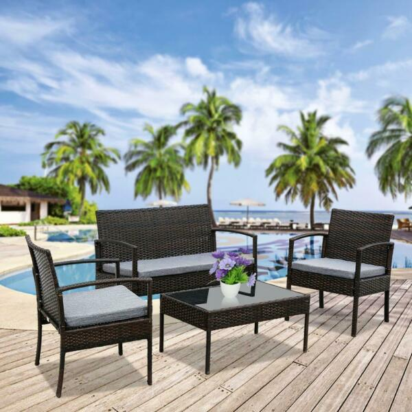 4 Pieces Outdoor Patio Furniture Sets with Coffee Table for Backyard Lawn Porch $179.99