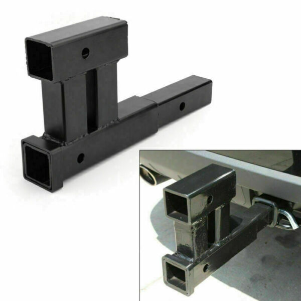 Dual 2quot; Receiver Trailer Hitch Extension Extender Rise Drop Adapter Bike Racks $33.99