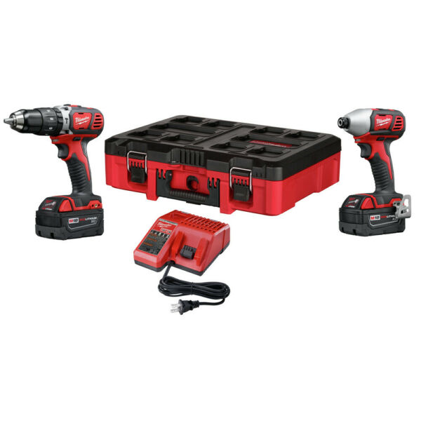 Milwaukee 2697-22PO M18 Compact 2-Tool Combo Kit (3 Ah) w PACKOUT Tool Box New