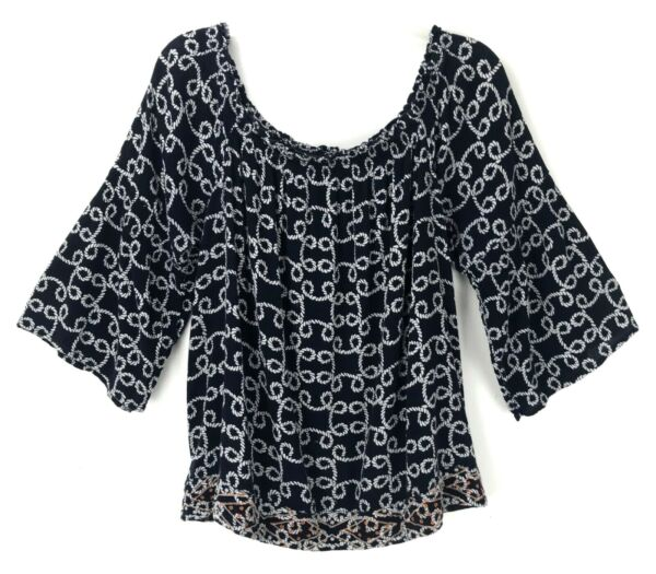 Crown & Ivy Blue 34 Sleeve Nautical Rope Blouse Top Women's Large $16.00
