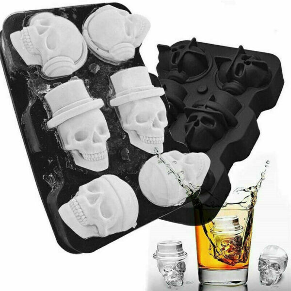 3D Black Flexible Silicone Skull Shape Ice Cube Tray Mold Whiskey Ice Ball Maker $8.97