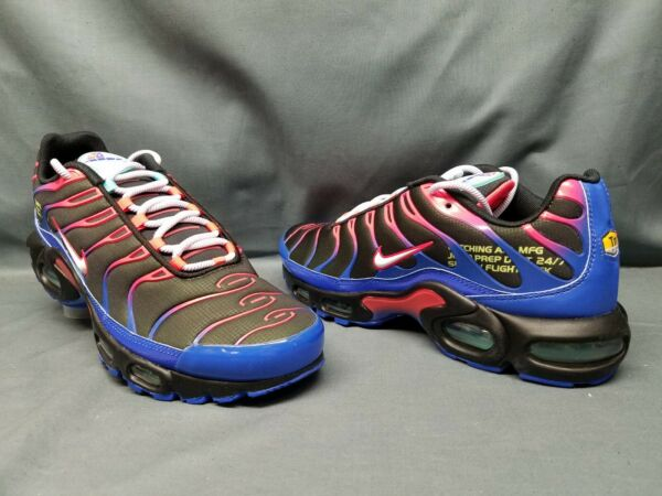 Nike Men's Air Max Plus Parachute Running Sneakers Black Blue Red Size 9 NEW!
