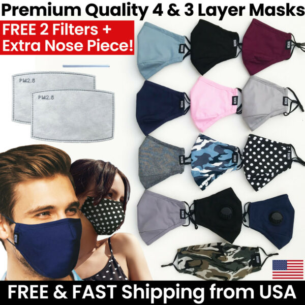 Premium 3 or 4 Layer Face Mask 4 Mask Filters Reusable Washable Cotton Cloth