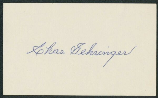 CHARLIE CHAS GEHRINGER TIGERS AUTOGRAPH AUTO SIGNED 3x5 INDEX CARD