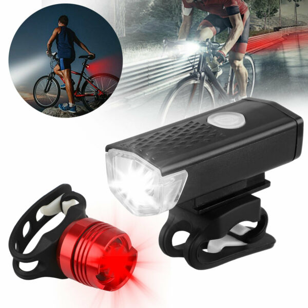 Waterproof USB Rechargeable Mountain Bike Lights Bicycle Torch Front amp; Rear Lamp $11.99