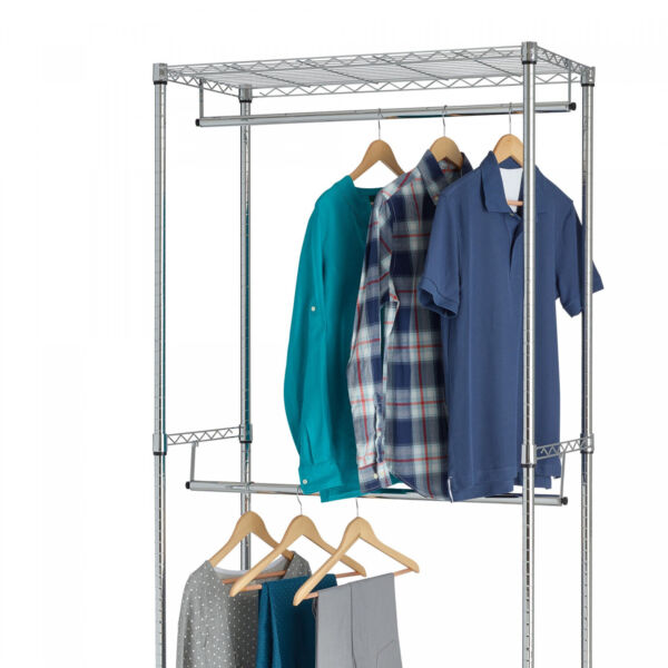 Closet Organizer Garment Rack Clothes Hanger Home Shelf Heavy Duty Chrome
