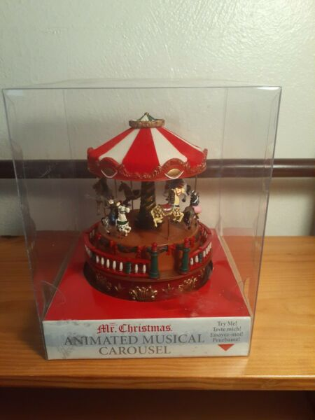 Holiday Animated Musical Carousel by Mr. Christmas 2005 NIB CLEAR PLASTIC BOX💚
