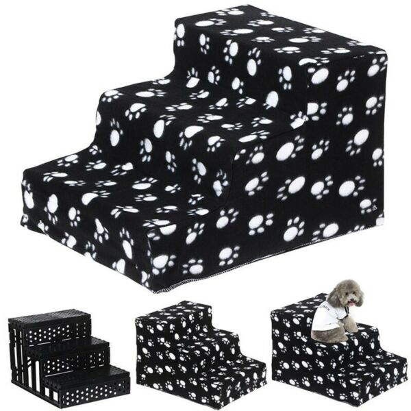 Black 3 Steps Dog Stairs for High Bed Pet Ramp Ladder Animal Cats Dogs Easy Step $51.69