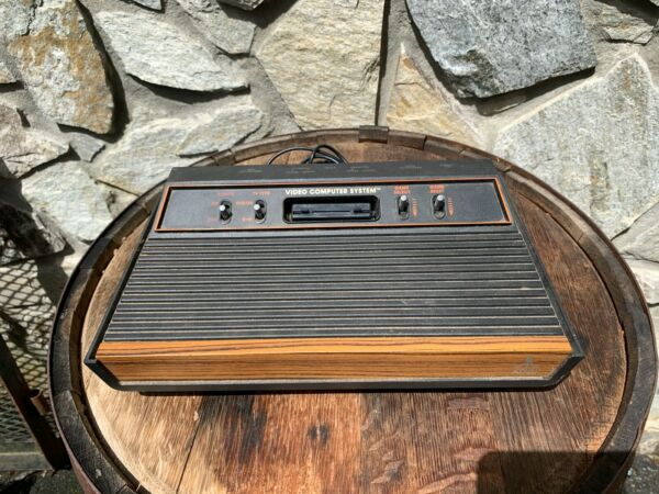 Vintage Atari CX- 2600A Wood Grain Video Game Console Only for Parts or Repair
