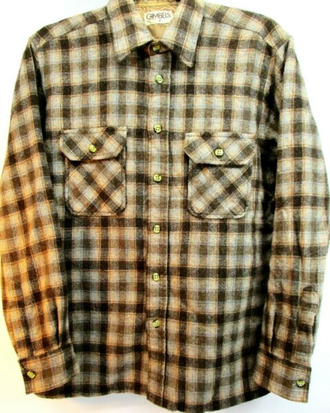 Gimbels Men Bottom Up Flannel VTG Shirt Size Men Brown Gray Plaid Made Korea