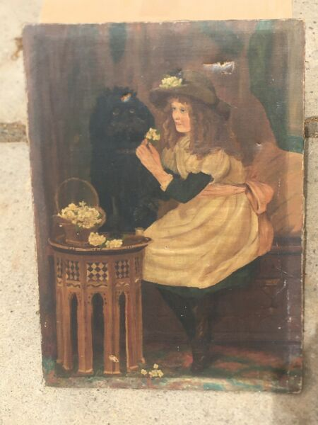 """22"""" X 16"""" Oil On Canvas Early American Folk Art Young Girl Dog amp; Furniture $99.99"""