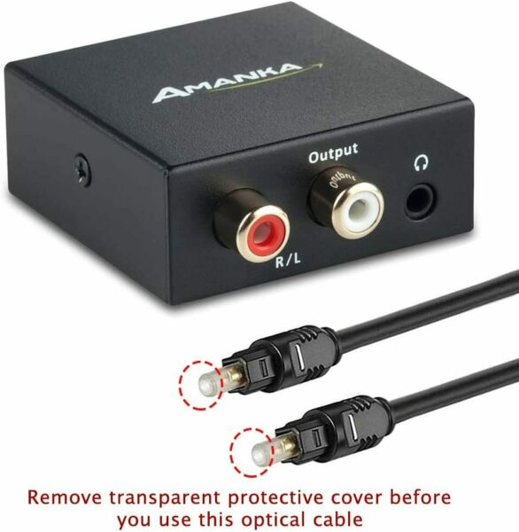 Digital to Analog Audio Decoder Optical Toslink Coaxial RCA AUX 3.5mm Fiber Cabl
