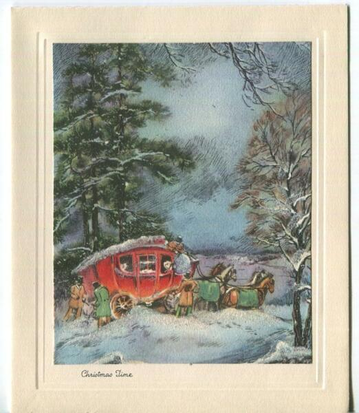 VINTAGE CHRISTMAS SNOW GLITTER HORSES FANCY STAGE COACH TALL PINE TREES ART CARD