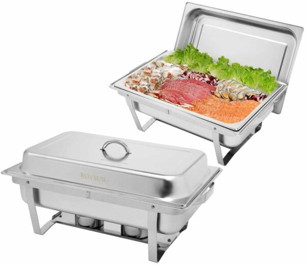 ROVSUN 8 Qt 2 Pack Full Size Stainless Steel Chafing Dishes Buffet Silver Rectan