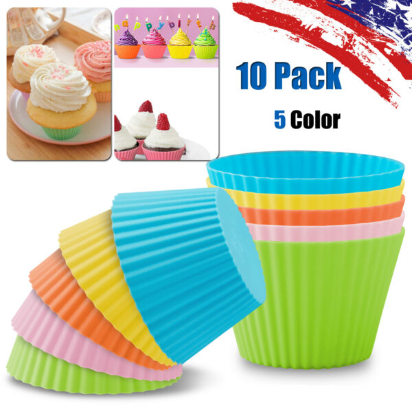10pc Silicone Cake Muffin Chocolate Cupcake Mold Baking Bakeware Cup Mould Liner