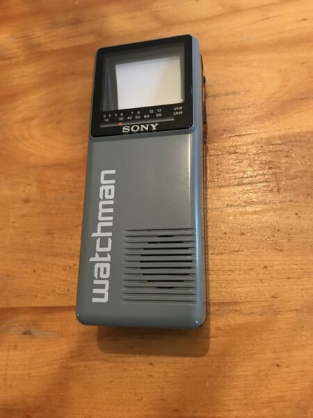 Collectible Sony Watchman Portable Handheld B&W Television FD-10A - Clean!