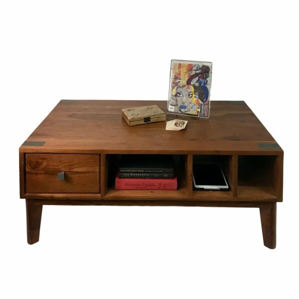 Mid Century Farmhouse Coffee Table Made from Solid Acacia Wood Home or Office