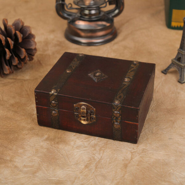 Decorative Trinket Jewelry Storage Box Handmade Vintage Wooden Treasure Case US