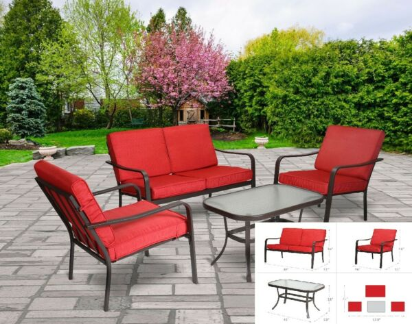 Patio Furniture Set Conversation 4 Piece Metal Weather Resistant Red Brand New $258.54