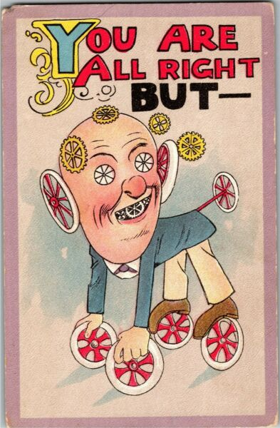 Mechanical Man Dog Wheels Gears You Are All Right But Vintage Postcard G30 $7.29