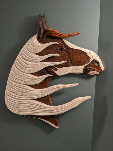 Vintage Carved Wooden Horse Head 3D Wall Mount