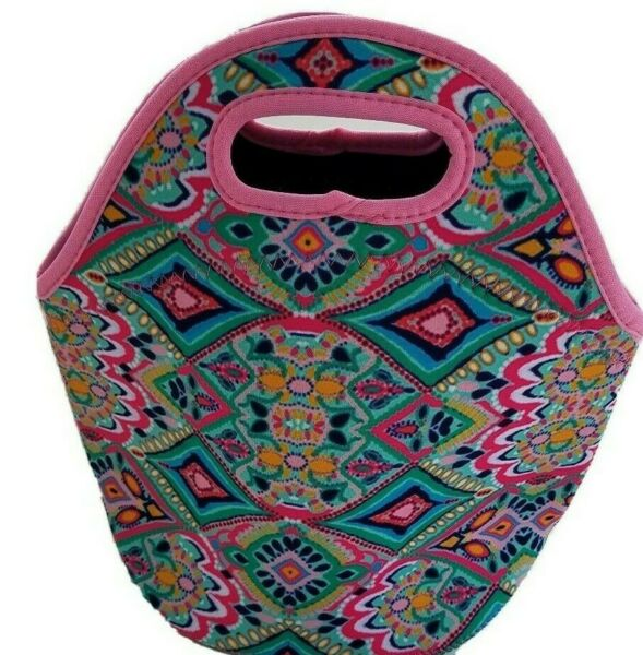 LILLY  Inspired LUNCH Bag Tote Insulated with Zipper Neoprene + Pop Socket NEW