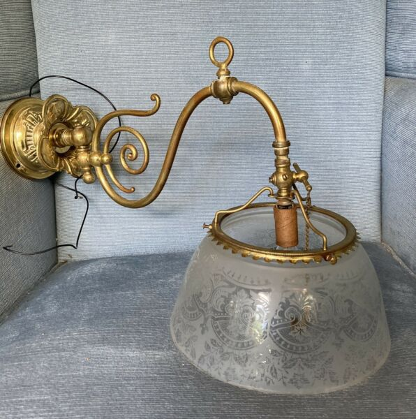 """Vintage Brass Gas Light Wall Sconce Electrified 17"""""""