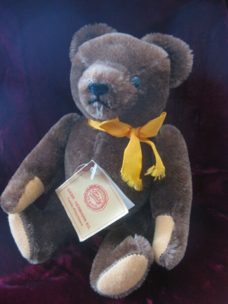 "Gebr. Hermann Mohair Jointed Teddy Bear 8""20 cm Germany"