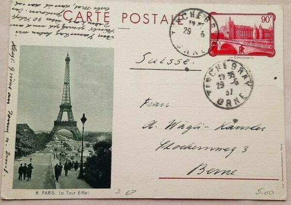 FRANCE 1937 90 CENTIMES STATIONERY CARD EIFFEL TOWER PHOTOGRAPH ILLUSTRATION