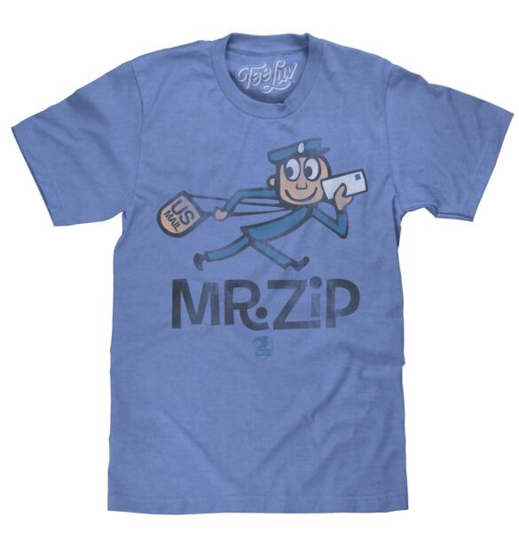 USPS SOFT TOUCH U.S. MAIL VINTAGE MR. ZIP T SHIRT CLASSIC MAILMAN TEE NEW MENS