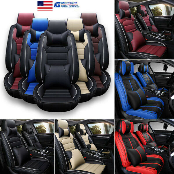 11pcs PU Leather Car Seat Cover Waterproof Protector Cushion Frontamp;Back Set US