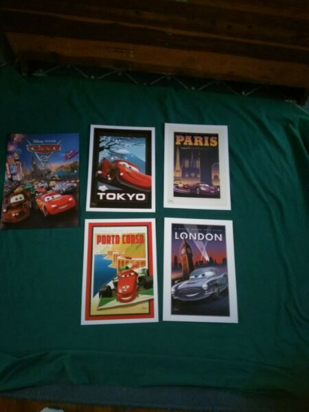 Disney Store Exclusive Lithograph Pixar's Cars  10x14  set of 4 NEW *Free Ship*